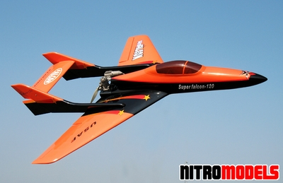 "Super Falcon 120 - 63"" Nitro Gas Radio Remote Controlled R/C Pusher Jet Plane"