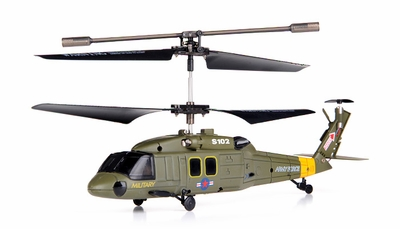 Syma S102G 3-Channel RC Indoor Mini Co-Axial Infared UH-60 Black Hawk RC Helicopter w/ Built in Gyro (Green) RC Remote Control Radio