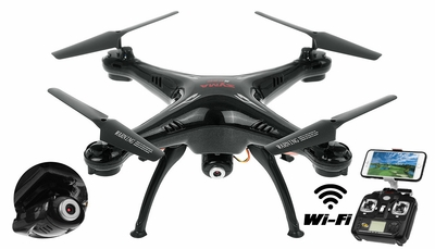 Syma X5SW Explorers 2 2.4GHz 4 Channel WiFi FPV RC Quadcopter with 3MP 720P HD Camera 6 Axis 3D Flip Flight UFO RTF IOS and Android Compatible (Black) RC Remote Control Radio