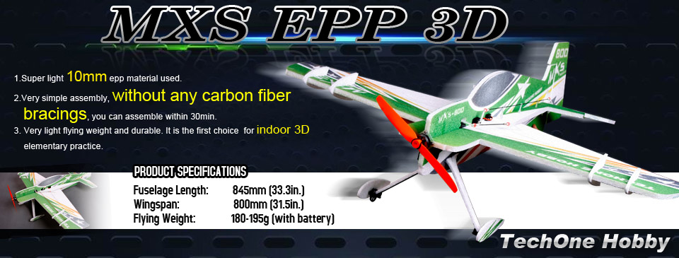 Tech One Rc 4 Channel Mxs Indoor Aerobatic Epp Plane Kit