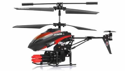V398 3.5 Channel Missile Shooting RC Helicopter RTF with Six Missiles rapid fire (Red) RC Remote Control Radio