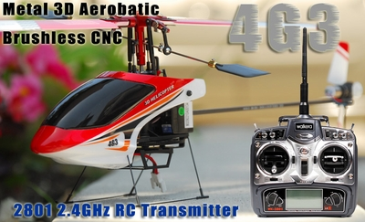 Walkera 4G3 Micro Metal 3D Aerobatic Brushless CNC RC Helicopter w/ 2801 2.4GHz RC Transmitter WalkeraHeli_4G3-Metal2801