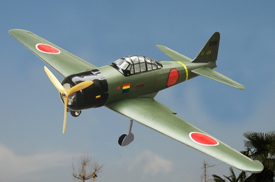 "WW2 Japanese Mitsubishi A6M Zero Fighter-25 Nitro Gas & EP 49""  led Warbird Plane RC Remote Control Radio"