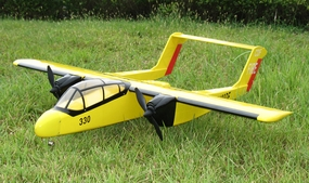 "Yellow Twin Engine OV10 Bronco 15 - 48"" Nitro Gas/Electric Radio Remote Controlled RC Airplane"