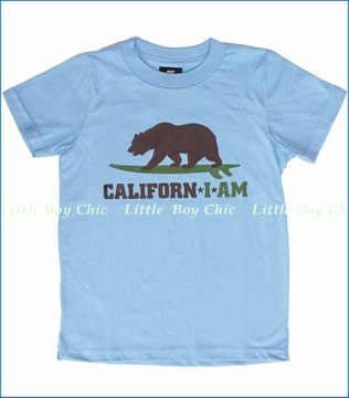 24-7 Daddyhood, Californ I Am Surfer Tee in Light Blue (c)