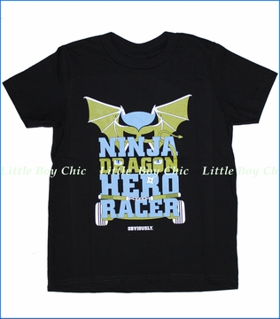 24-7 Daddyhood, Ninja Dragon Hero Racer Tee in Black (c)