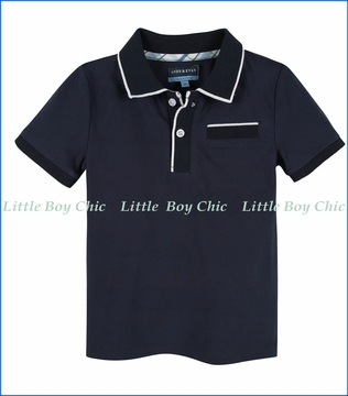 Andy & Evan, Polo Tee with ribbing in Navy Blue