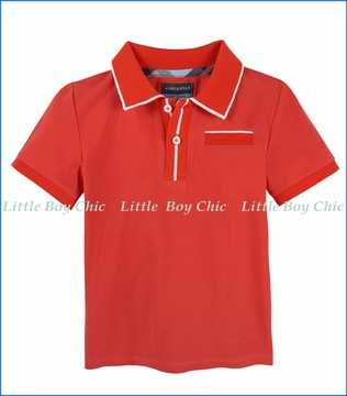 Andy & Evan, Polo Tee with ribbing in Red