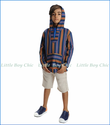 Appaman, Baja Hooded Pullover in Cobalt Multi Stripe