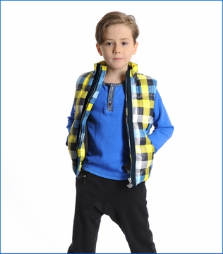 Appaman, East Side Puff Vest in Strong Blue Plaid
