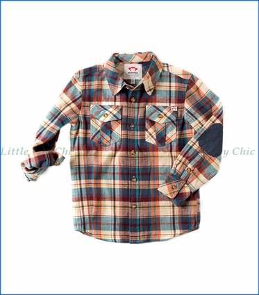 Appaman, Flannel Shirt in Stillwater Orange Plaid