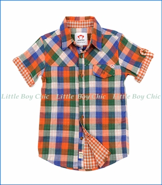 Appaman, Harvey Shirt in Orange/Blue Plaid