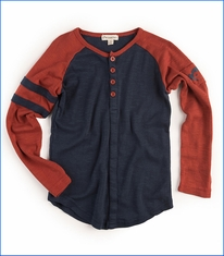 Appaman, LS Baseball Henley T-Shirt in Blue
