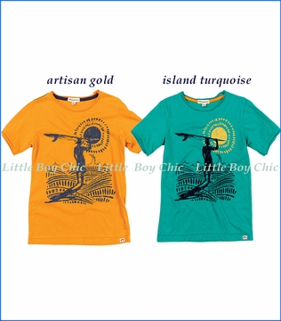 Appaman, Surfer's Paradise T-Shirt in Artisan Gold and Island Turquoise
