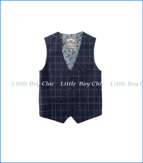 Appaman, Tailored Vest in Navy Windowpane