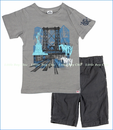 Appaman, Williamsburg Bridge Tee with Black Board Shorts