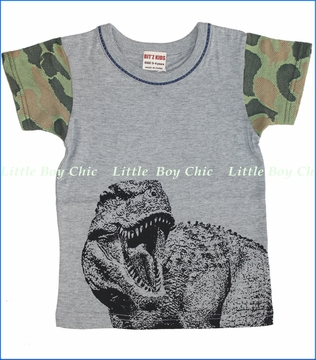 Bit'z Kids, Camo Dino Tee in Heather Grey (c)