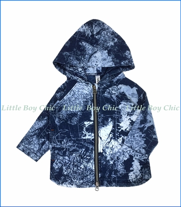 Bit'z Kids, Globetrotter Zip Up Hoodie in Indigo