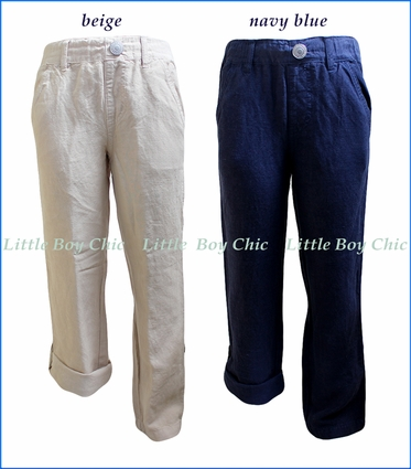 Bit'z Kids, Linen Roll-Up Pants in Blue and in Beige