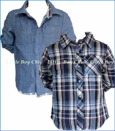 Bit'z Kids, LS Reversible Plaid Shirt in Multicolored