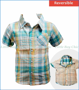 Bit'z Kids, S/S Reversible Plaid Shirt in Multicoloured