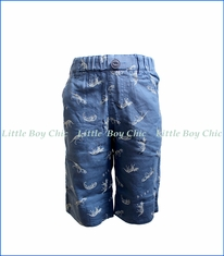 Bit'z Kids, Stripe Lined Dino Print Shorts in Blue