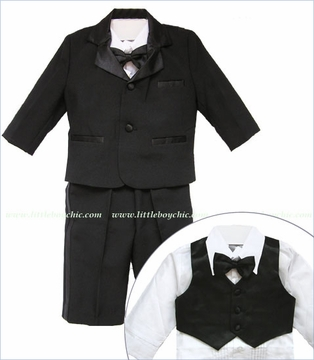 Black Tuxedo Coat, Vest and Pants Set with Bow Tie and Shirt (c)