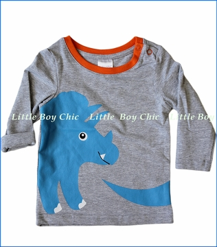 Blade & Rose, L/S Dinosaur Top in Grey