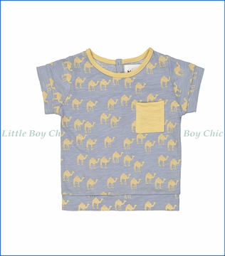 Blune, Camel Print T-Shirt in Blue