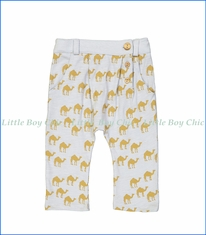 Blune, Camel Slightly-Harem Pants in Blue