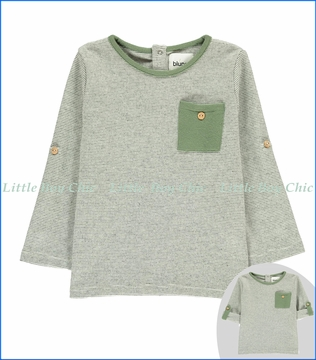 Blune, Fair-Isle Medina Sweatshirt with Roll-up Sleeves in Grey