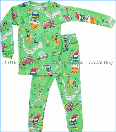 Books To Bed, Pete The Cat Holiday Pajama in Green