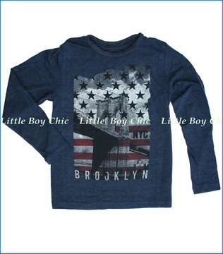 Californian Vintage, Brooklyn Bridge Tee in Navy
