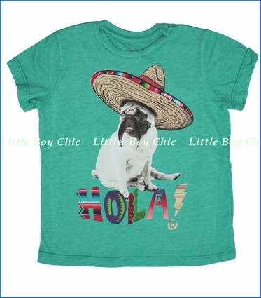 Californian Vintage, Mexican Pug Tee in Kelly Green