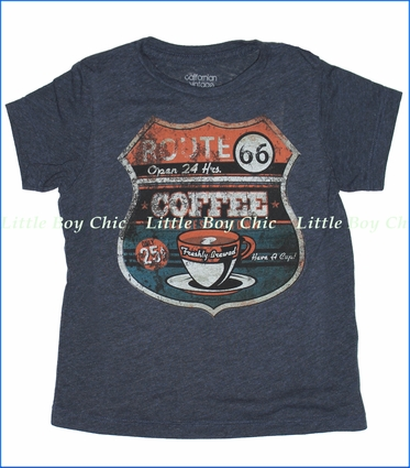 Californian Vintage, Route 66 Tee in Midnight