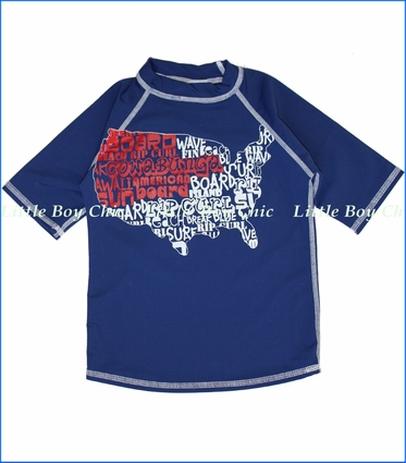 Charlie Rocket, USA Map Rash Guard in Navy (c)