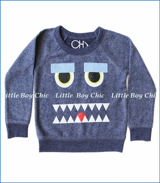 Chaser, Monster Mash Fleece Sweatshirt in Blue