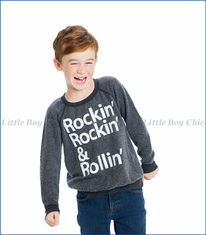 Chaser, Rockin & Rollin Fleece Sweatshirt in Smoke Grey