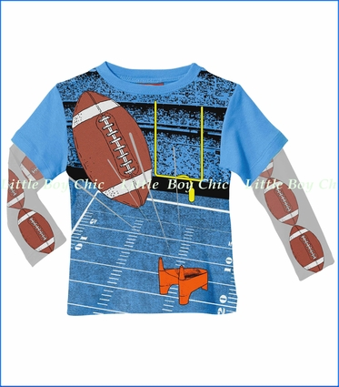 City Threads, American Football 2fer Tee in Bright Blue