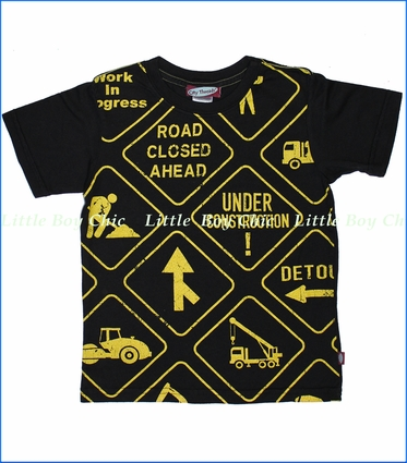 City Threads, Construction Signs Tee in Black (c)