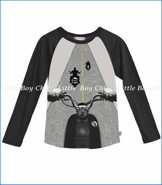 City Threads, Motorcycle Riders Tee in Road Gray