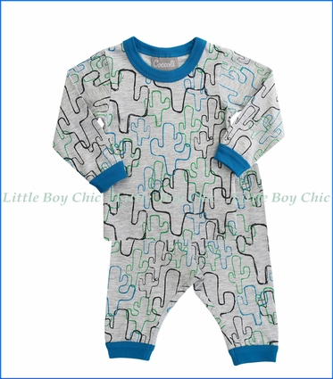 Coccoli, 2-Pc Cactus Print PJ Set in Grey