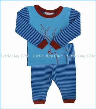 Coccoli, 2-Pc Deer Print PJ Set in Blue