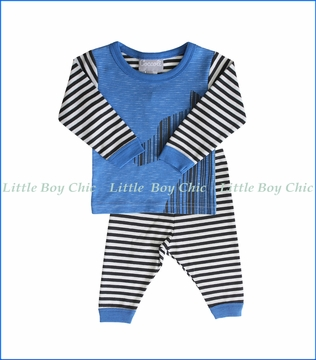 Coccoli, 2-Pc Pewter Zebra Stripe PJ Set in Blue