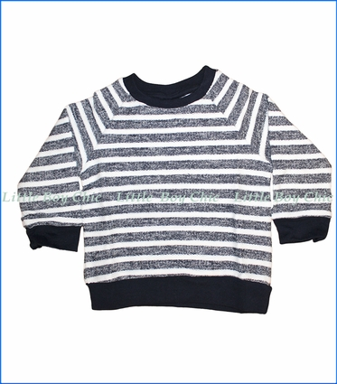 Coccoli, L/S Stripe Slub Knit Sweater in Navy
