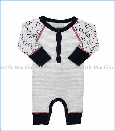 Coccoli, Penguin Henley Romper in Navy