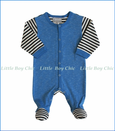 Coccoli, Pewter Stripe Footie in Blue