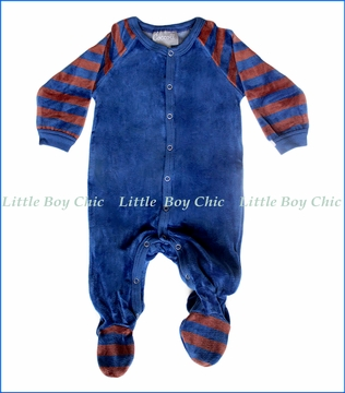 Coccoli, Solid Velour Footie in Blue