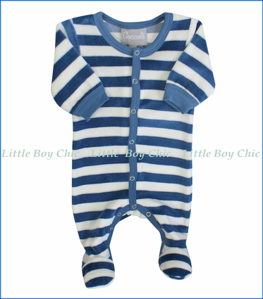 Coccoli, Stripe Velour Footie in Night Sky Blue