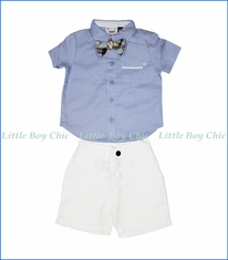 Fore!! , 3-Pc Shirt w/ Bow Tie & Shorts Set in Blue